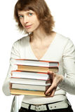 The smiling girl with books Stock Images