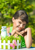 Smiling girl with bottle of milk Royalty Free Stock Photo