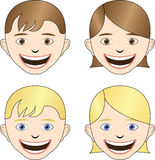 Happy faces. A set of smiling faces. A girl and a boy, both blond and brown hair Stock Photos