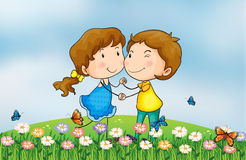 A smiling girl and a boy Stock Images