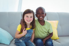 Smiling girl and boy together Stock Photo