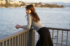 Smiling girl at the bridge Stock Image