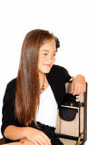 Smiling girl in briefcase. Royalty Free Stock Image