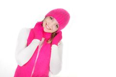 Smiling girl in bright hat and scarf Stock Photo