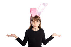 Smiling girl with bunny ears Royalty Free Stock Photography