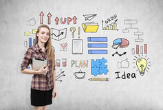 Smiling girl and business idea doodles Stock Photos