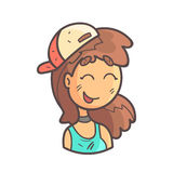 Smiling Girl In Cap, Choker And Blue Top Hand Drawn Emoji Cool Outlined Portrait. Part Of Funky Flat Vector Sticker Series With Teenager Different Emotional Royalty Free Stock Photos