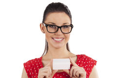 Smiling girl with card Stock Photo