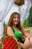 Smiling girl in the carriage Stock Photo