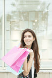 Smiling girl carrying many shopping bags on a city street. Smiling fashion woman with sopping bags stock image