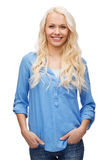 Smiling girl in casual clothes Stock Photos