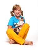 Smiling girl with cat. Royalty Free Stock Photos
