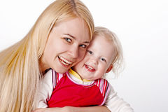 smiling girl with child Royalty Free Stock Images
