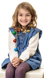 Smiling girl with Christmas decorations portrait Royalty Free Stock Images