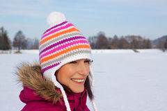 Smiling girl in cold weather Stock Photo