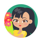 Smiling Girl with Colourful Flowers. Black Hair Stock Photography