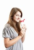 Smiling Girl With Cosmetic Container Stock Image