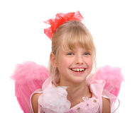 The smiling girl in costume of angel. Isolated Stock Photo