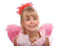 The smiling girl in costume of angel. Stock Photo