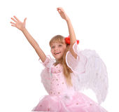 The smiling girl in costume of angel. Royalty Free Stock Photography