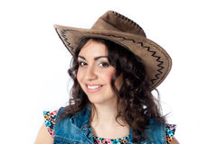 Smiling girl in cowboy hat Royalty Free Stock Photography