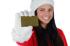 Smiling Girl with Credit Card Royalty Free Stock Photos