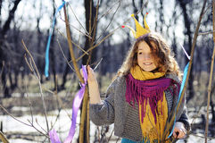 Smiling girl with crown Stock Photo