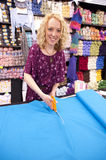 Smiling Girl cutting fabric  Royalty Free Stock Photography