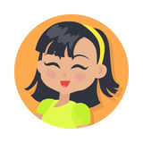 Smiling Girl with Dark Hair and Forelock. Red lips Royalty Free Stock Photo