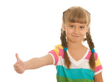 Smiling girl demonstrates thumb up Royalty Free Stock Photography