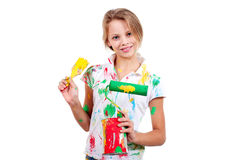 Smiling girl with different tools Stock Photography