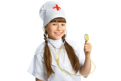 Smiling girl doctor with stethoscope in uniform Stock Images