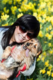 Smiling Girl and Dog Royalty Free Stock Photo