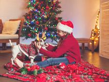 Smiling girl with dog near christmas tree at home Royalty Free Stock Photos