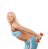 Smiling girl doing stretch Stock Photos