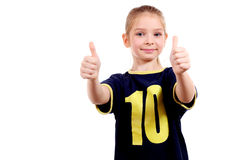 Smiling girl with double thumbs up! Stock Photos