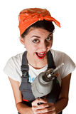 Smiling girl with drill Stock Photography