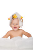 Smiling girl with ducks and soap foam Stock Image