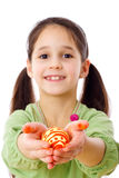 Smiling girl with easter egg in hands Stock Image