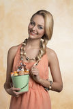 Smiling girl with easter eggs Royalty Free Stock Photography