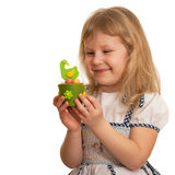 Smiling girl with Easter toy Royalty Free Stock Photography