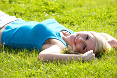 Smiling girl enjoying the sunshine Royalty Free Stock Photos