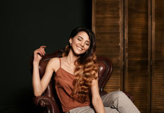 Smiling girl face. Fashionable portrait of fashionable girl with beautiful smile. Smiling gorgeous girl with perfect clean skin, w Stock Image