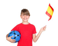 Smiling Girl Fan Of The Spanish Team Stock Images