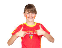 Smiling Girl Fan Of The Spanish Team Saying OK Royalty Free Stock Images
