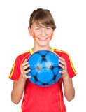 Smiling girl fan of the Spanish team Royalty Free Stock Photo