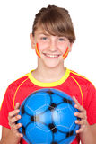 Smiling girl fan of the Spanish team Royalty Free Stock Photos