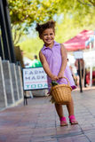 Smiling GIrl at Farmers Market Stock Photography