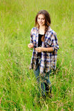 Smiling Girl in Field Stock Photography