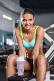 A smiling girl in a fitness club. Stock Photo